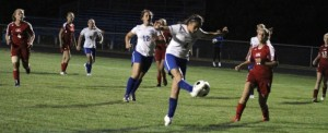 Maddie Simms puts her foot into her third goal