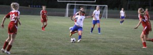 Maddie Simms gets an open look and fires her third goal