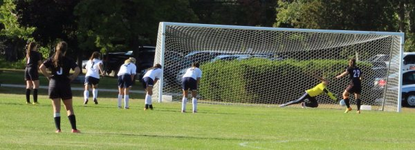 Emily Baker (#29) drives home a penalty kick
