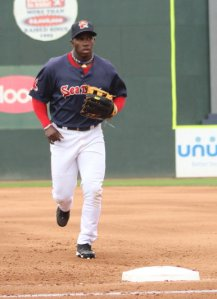 Rusney Castillo played center field for the Sea Dogs