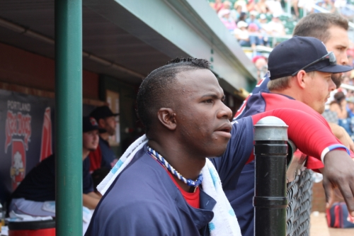 Boston Red Sox prospect Rusney Castillo looks out from the Portland Sea Dogs dugout