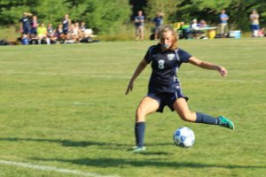 Sophomore Maddie Amidon sets to score the first York goal