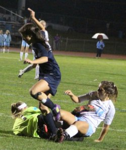 Maggie Symonds collides with Portland GK
