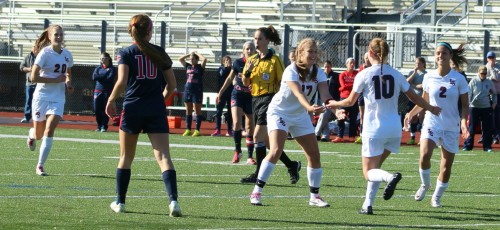 Sophomore Jenna Barnes (10) scored the only goal of the game assisted by senior  Hannah Rosenblatt (17)