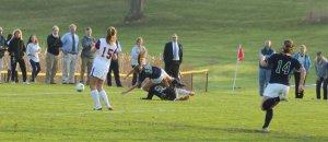 Megan Foye takes a spill
