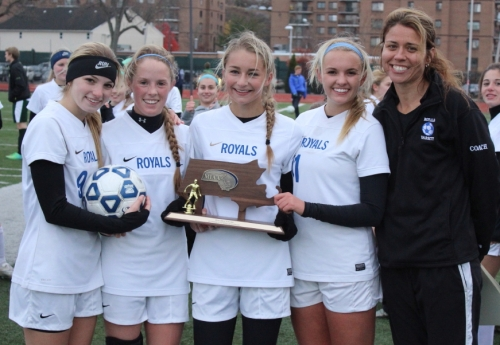 Georgetown captains and Coach Colleen Gibbs with Division 4 North trophy