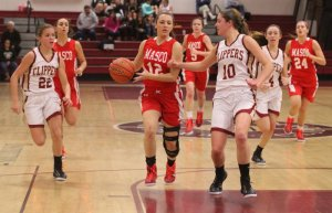 Amy Fogarty drives the lane