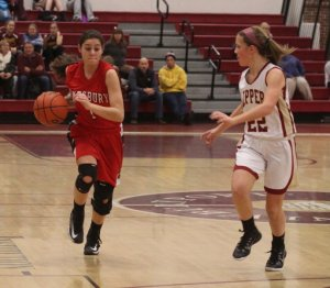 Maddie Napoli (16 points) guarded by Krysta Padellaro