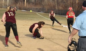 Clippers relief pitcher Carley Siemasko throws to Molly Kelley at first