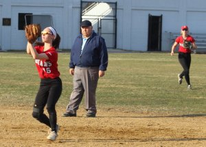 Lauren Fedorchak (2B) catches the final out for Amesbury