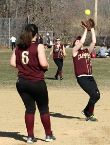 Molly Kelley (2B) about to catch a popup