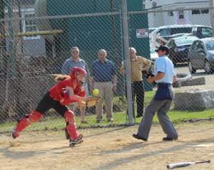 Caity Baker chases a popup