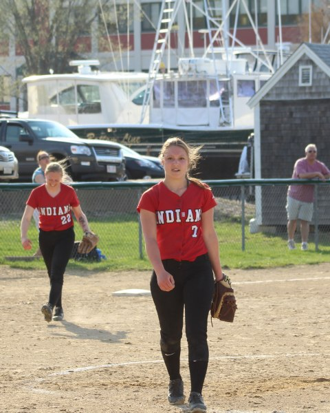 Hayley Cantania leaves the mound after pitching a one-hitter for Amesbury