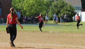 Maddie Napoli on her way to a terrific running catch