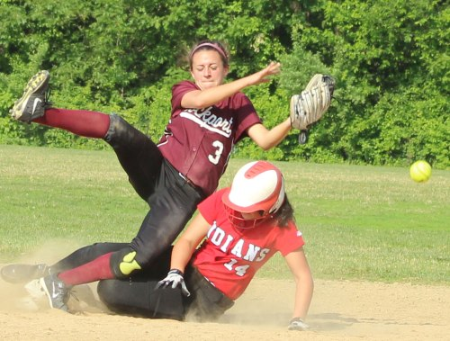 Miranda Roller and Emily Robinson collide at second base