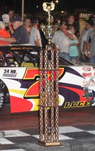Trophy and winning car