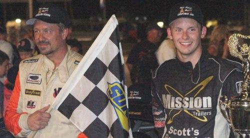 Glen Luce and Ryan Lanpher (2nd) pose on victory lane