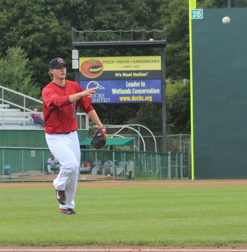 Justin Haley makes an easy toss to first. Justin allowed one hit during his seven innings of pitching.