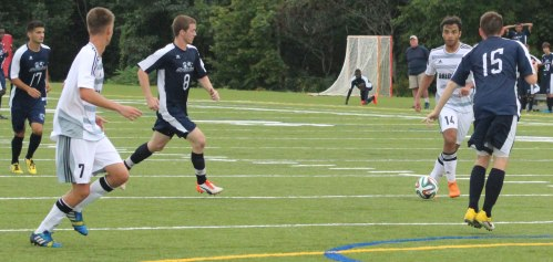Bridgton Academy passing was key to win over SMCC. Here Lucca Rodrigues (14) looks to pass to teammate victor Lage (7)
