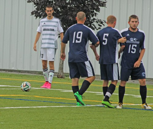 Justin D'Orlando lines up direct kick that became first BA goal