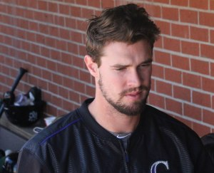 David Dahl in the Rock Cats dugout