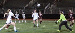 Ball coming toward T-Hawk's goalie Lauren Cammarano
