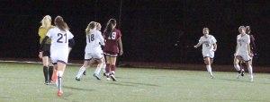 Rachel Kingston (#5) celebrates Needham's third goal