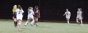 Rachel Kingston (#5) celebrates Needham's third goal