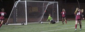 Rachel Kingston's shot gets past GK Lauren Cammarano