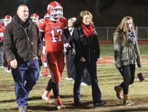 Joey Capodagli and other Masuk seniors honored before the game