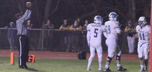 Ben Mason congratulated in the end zone