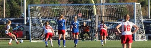 Courtney Velho takes a first-half penalty kick