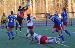 Jackie Luckhardt makes a save for Londonderry