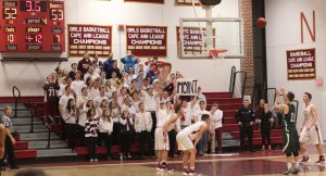 Conor O'Neil attempts a free throw in front of the Newburyport student section