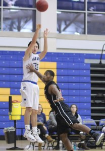 Dillon Palumbo (16 points) shoots from the corner.