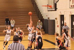 Katie King (#10) floats up two in the lane
