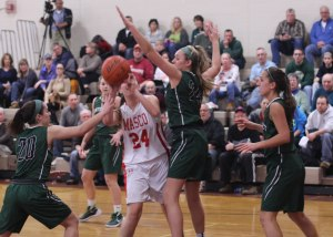 Kailey Crothers guarded by Taylor Moore and Riley Holden