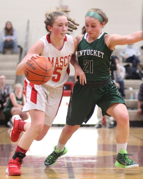 Paige Amyouny, here guarded by Maddi Doyle, had almost everything to do with Masco's win over Pentucket