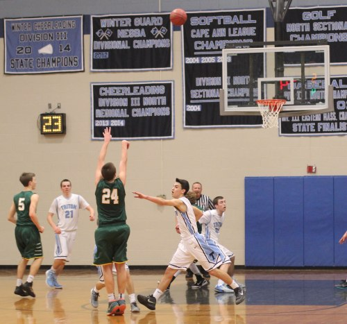 Adam Goldstein (28 points) fires a three that gave North Reading a four-point lead in the final minute