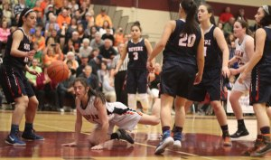 Marissa Gattuso goes down after a foul in the last minute