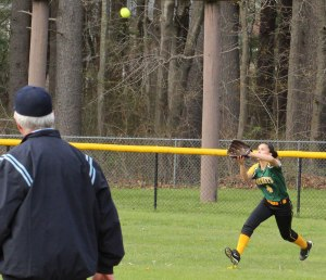 CF Abby Paine sights a fly ball