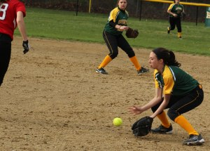 2B Carly Swartz fields the final out