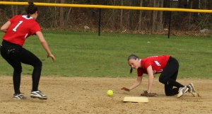 2B Lauren Fedorchak tries to track down a hit up the middle