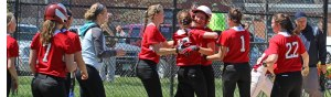 Zoe Fitzgerald congratulated after first inning homer