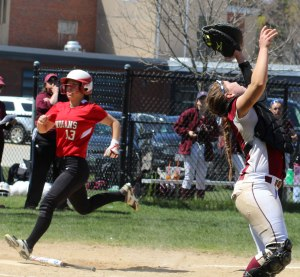 Catcher Virginia Ryan puts an end to the AHS second