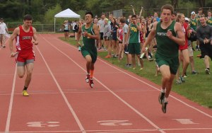 Sam Coppola (Pentucket), Keith Merchant (Amesbury), Tom Helms (North Reading) in 4X100 relay