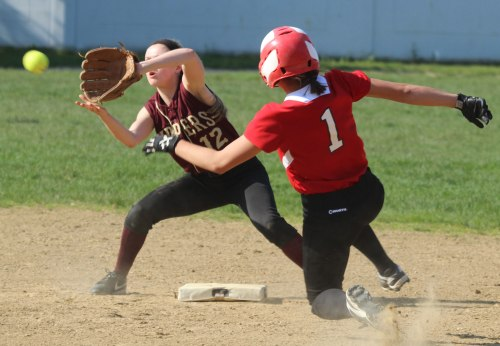 Freshman Annie Siemasko awaits the throw as Maddie Napoli starts to slide
