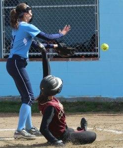 Paige Gouldthorpe scores Newburyport's first run