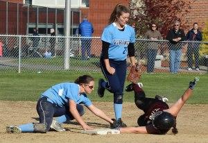 Bridget Sheehan tags out Stephanie Gleason to end the Newburyport 6th inning