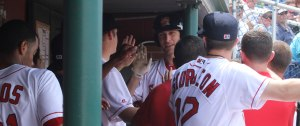 Nate Freiman in Portland dugout after home run